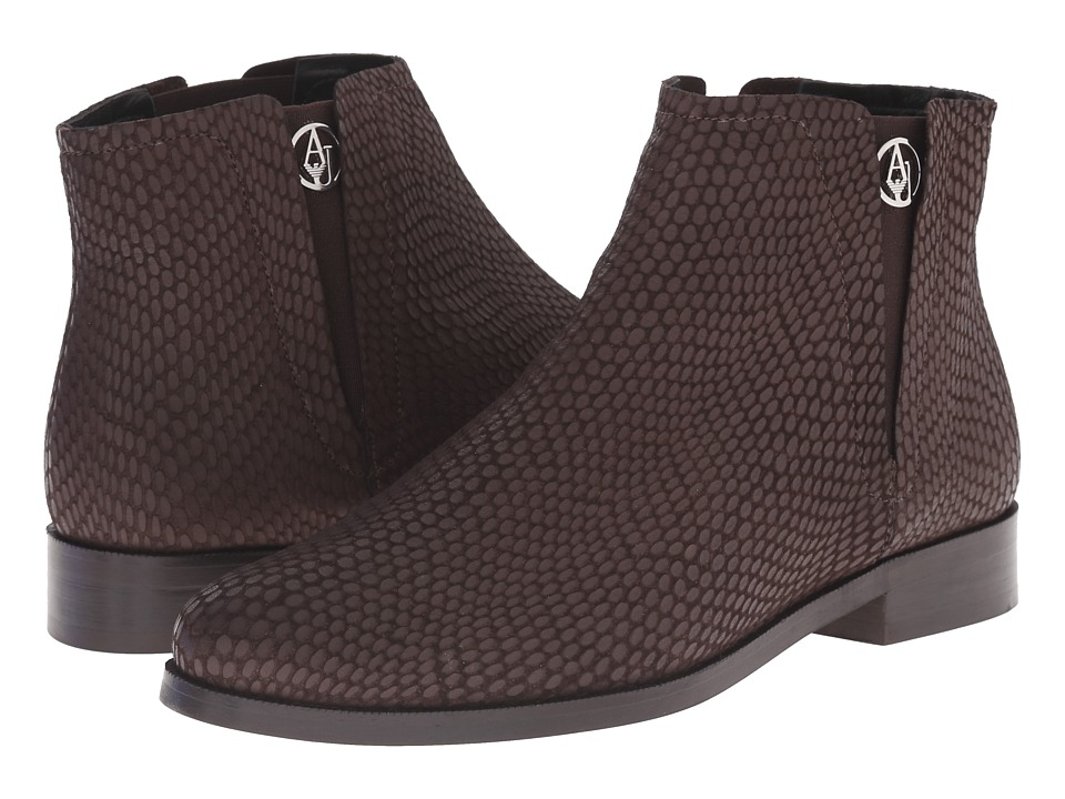 Armani Jeans Lizzard Printed Bootie Brown Womens Pull-on Boots