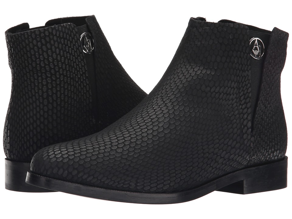 Armani Jeans - Lizzard Printed Bootie (Black) Women's Pull-on Boots