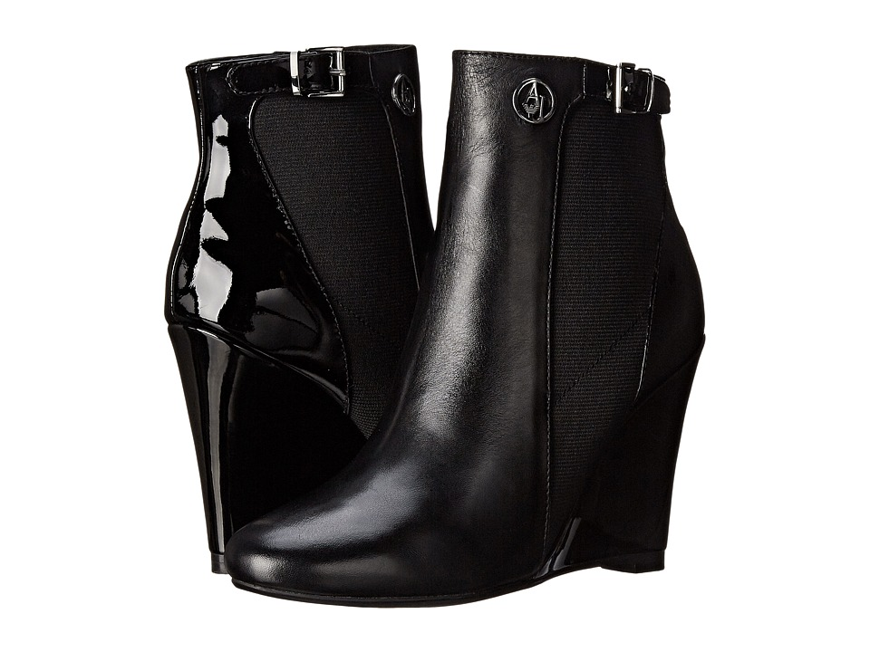Armani Jeans - Wedge Ankle Boot (Black) Women's Zip Boots