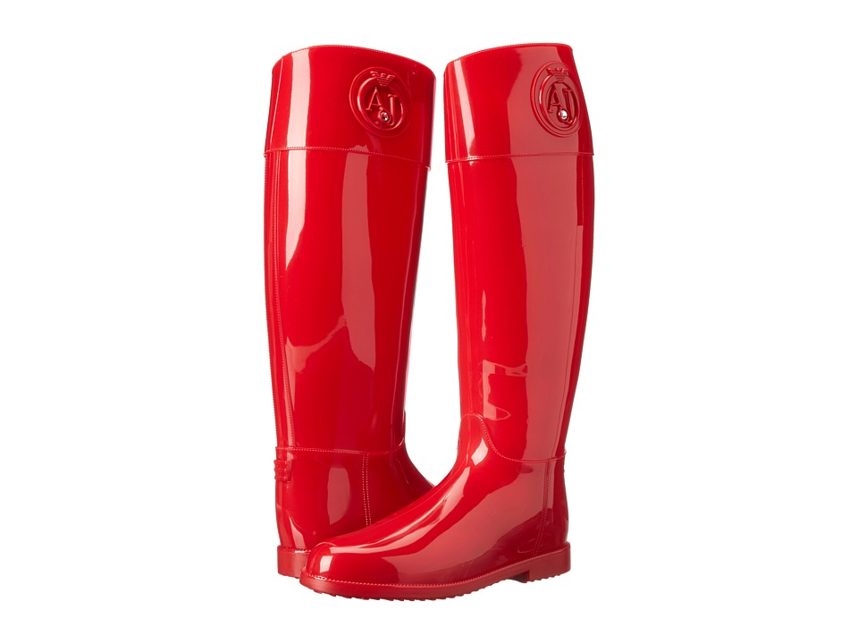 Armani Jeans Tall Rainboot Red Womens Rain Boots