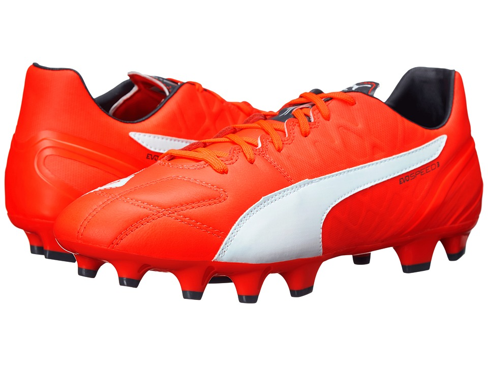PUMA evoSPEED 3.4 Leather FG (Lava Blast/White/Total Eclipse) Men
