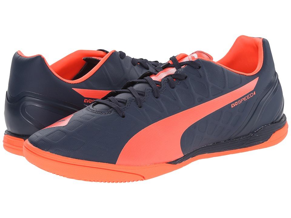 PUMA - evoSPEED 4.4 IT (Total Eclipse/Lava Blast/White) Men's Soccer Shoes
