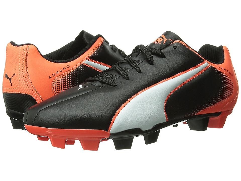 PUMA - Adreno FG (Black/White/Lava Blast) Men's Soccer Shoes
