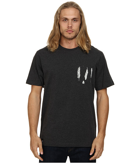 L-R-G - Feather Pocket Tee (Black Heather) Men's Short Sleeve Pullover