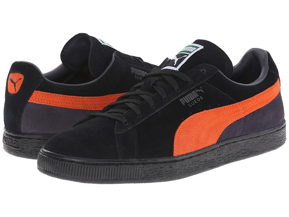 PUMA - Suede Classic + Blocked (Black/Orange/Periscope) Men