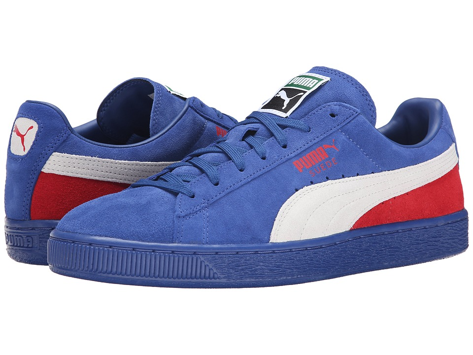 PUMA - Suede Classic + Blocked (Limoges/White/High Risk Red) Men's Lace up casual Shoes