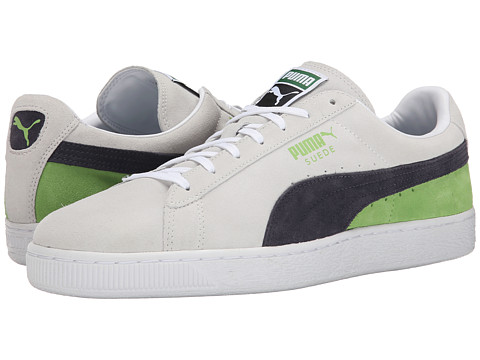 PUMA - Suede Classic + Blocked (White/Periscope/Jasmine Green) Men's Lace up casual Shoes