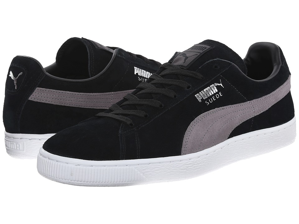 PUMA - Suede Classic+ (Black/Steel Gray/Puma Silver) Men's Shoes