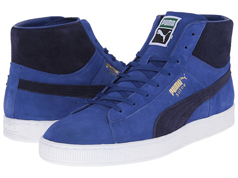PUMA - Suede Mid Classic+ (Limoges/Peacoat/White) Men's Shoes