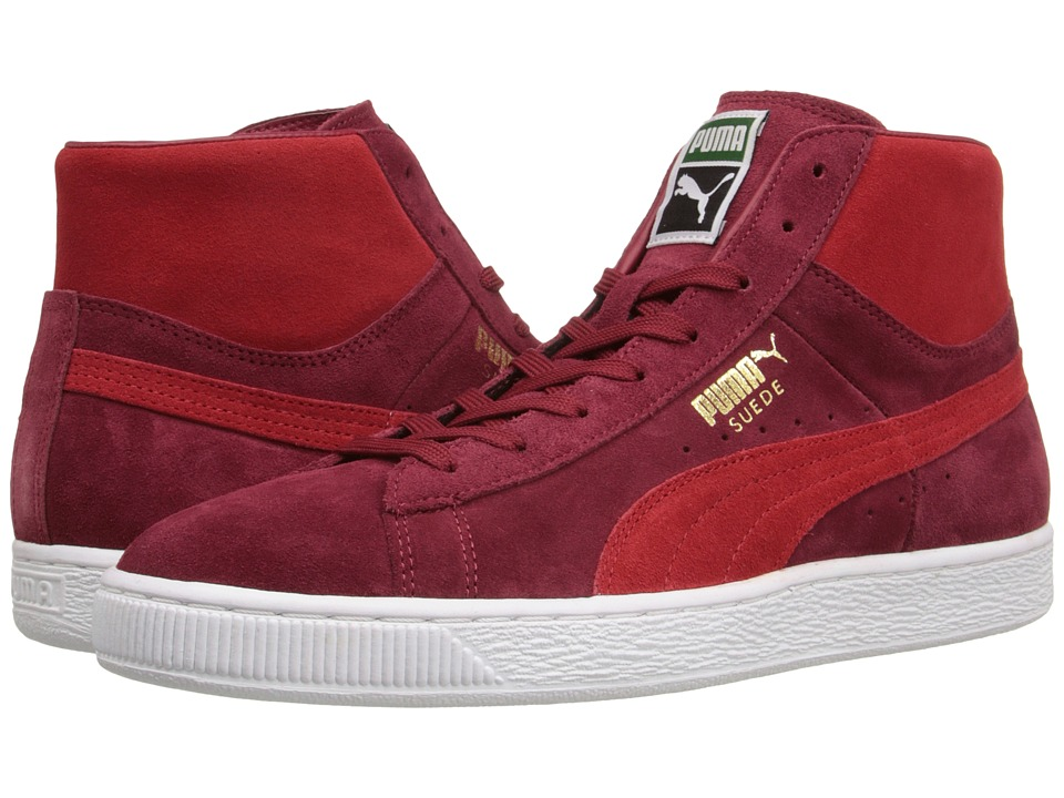 PUMA - Suede Mid Classic+ (Rio Red/High Risk Red/White) Men's Shoes