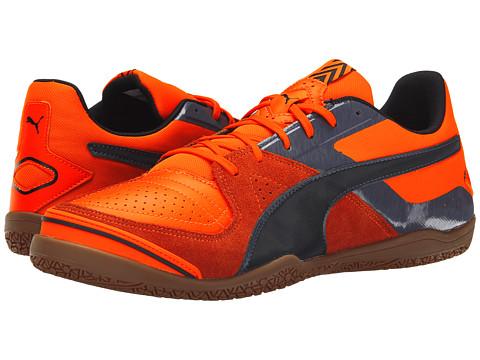 PUMA - Invicto Sala (Orange Clown Fish/Black/Periscope) Men's Soccer Shoes
