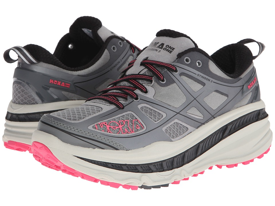 Hoka One One - Stinson 3 ATR (Grey/Neon Pink) Women's Running Shoes
