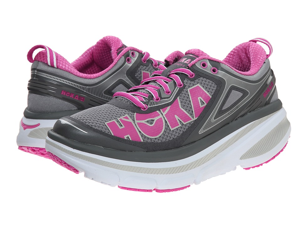 Hoka One One - Bondi 4 (Grey/Fuchsia) Women's Running Shoes