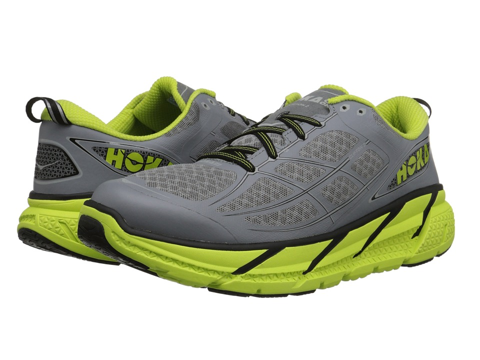 Hoka One One - Clifton 2 (Grey/Acid) Men's Running Shoes