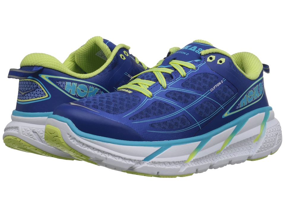 Hoka One One - Clifton 2 (True Blue/Sunny Lime) Women's Running Shoes