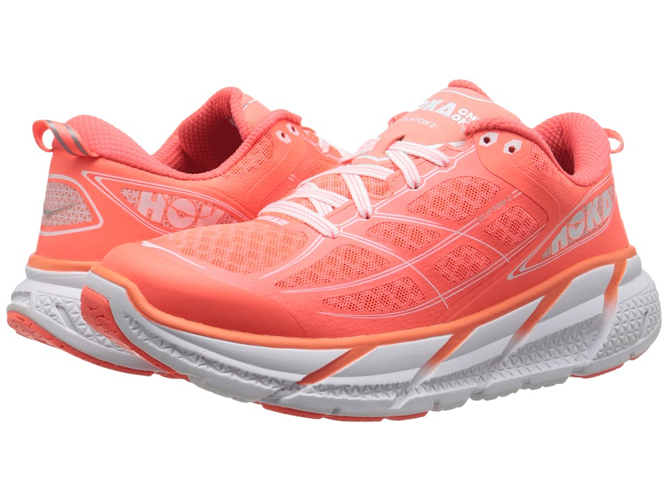 Hoka One One - Clifton 2 (Neon Coral/White) Women's Running Shoes