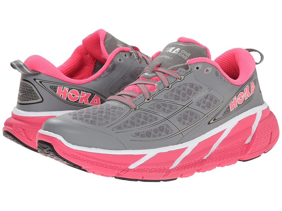 Hoka One One - Clifton 2 (Grey/Neon Pink) Women's Running Shoes