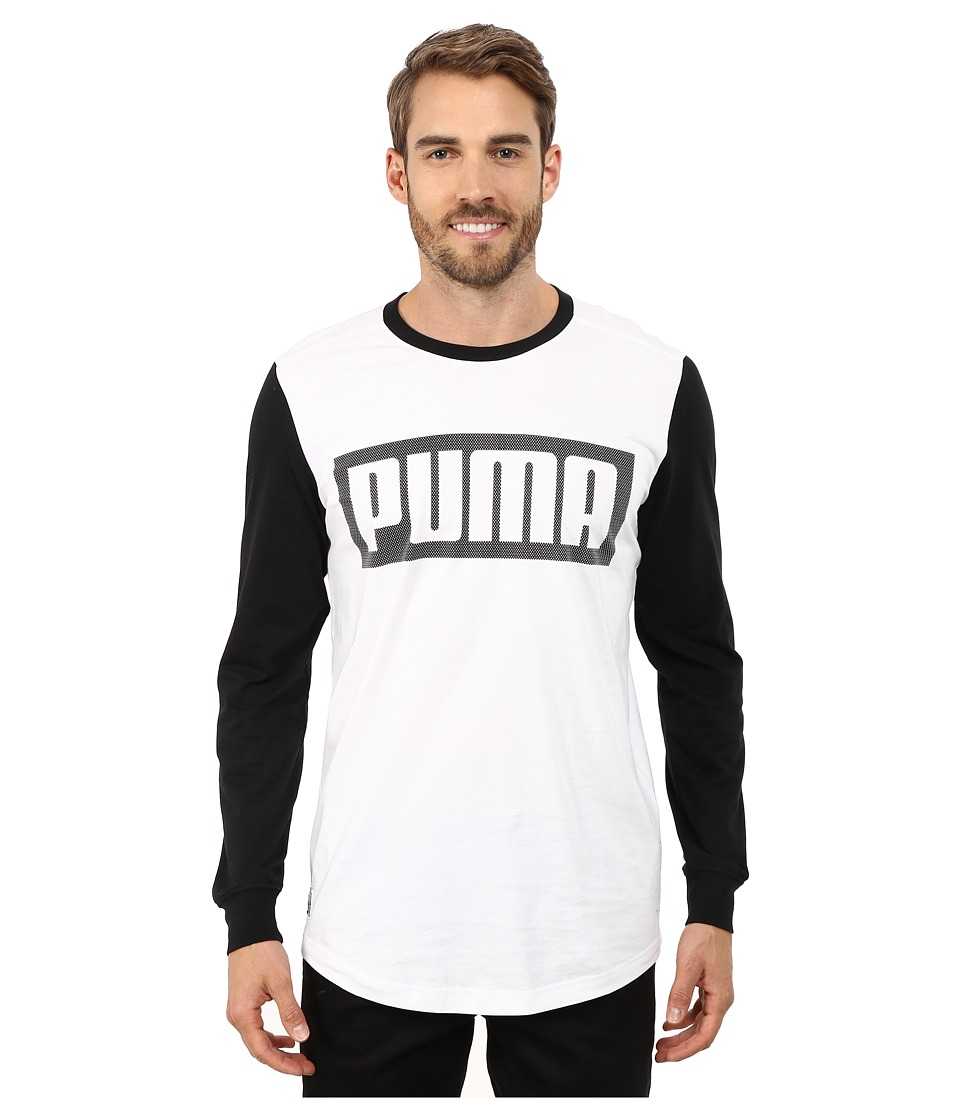 PUMA - Long Sleeve Mesh Knockout Tee (White) Men's T Shirt