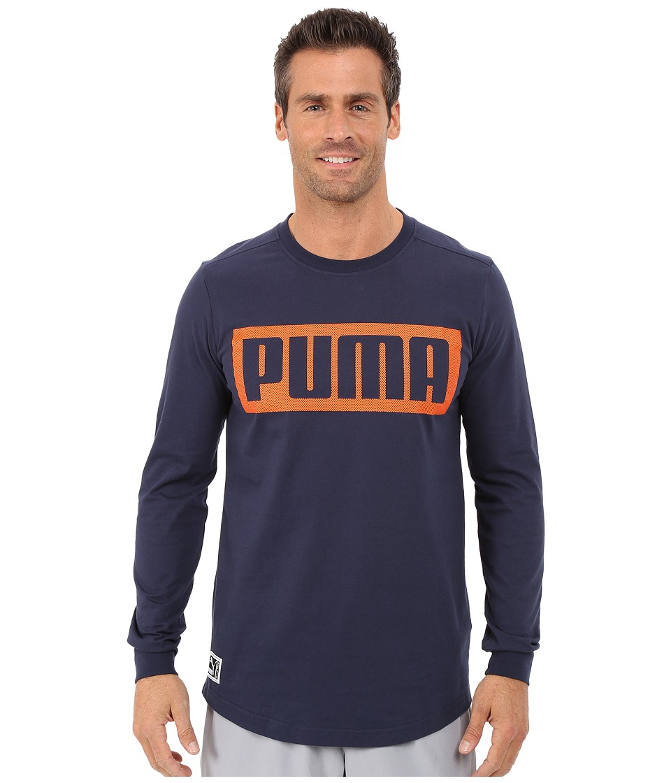 PUMA - Long Sleeve Mesh Knockout Tee (Peacoat) Men's T Shirt