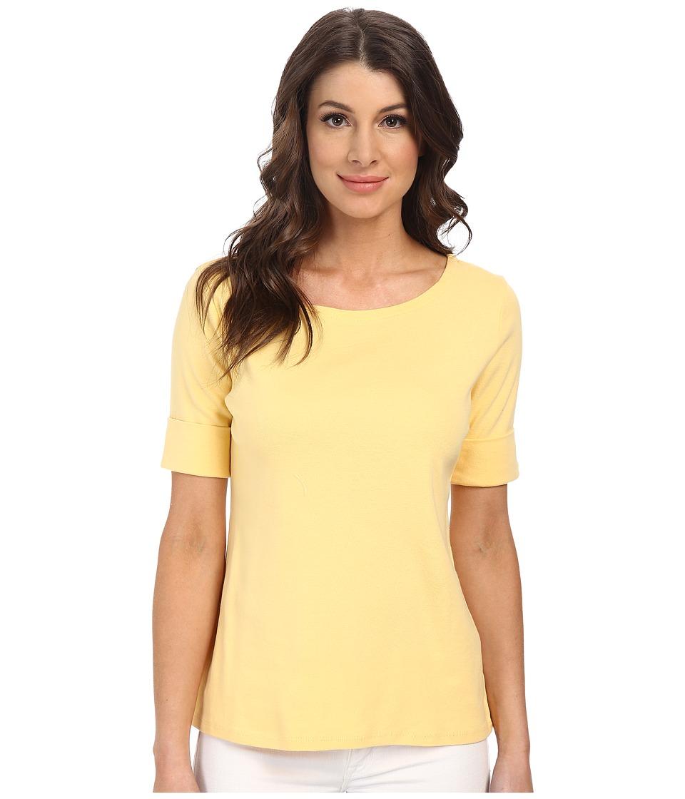 Pendleton - Roll Sleeve Rib Tee (Cornsilk) Women's T Shirt