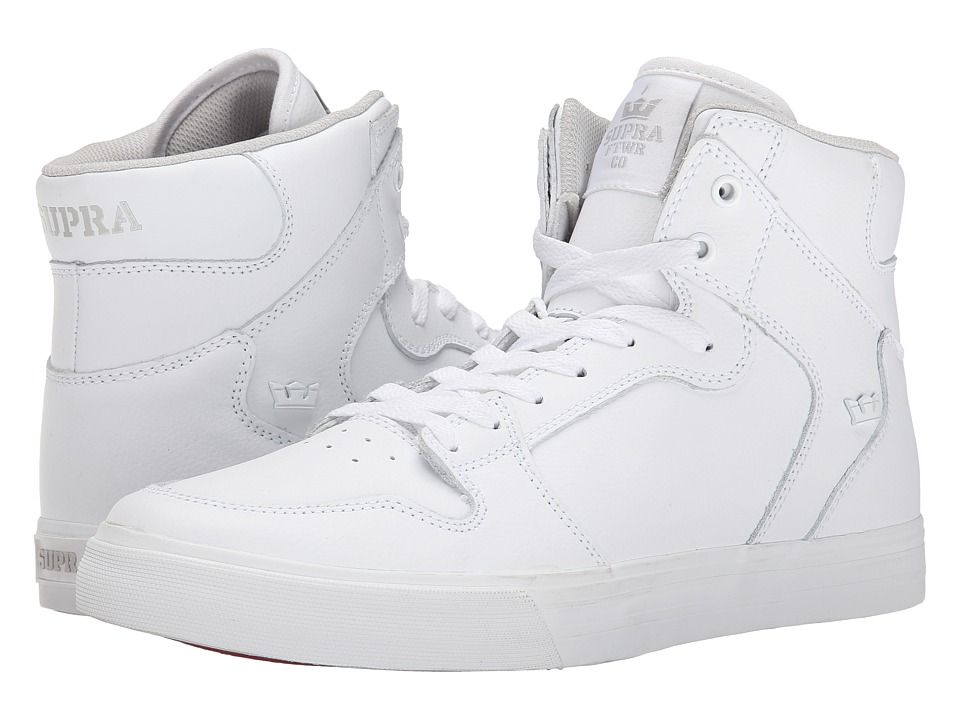 Supra - Vaider (White Full Grain Tumbled Leather) Skate Shoes