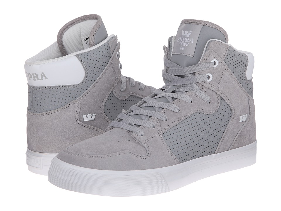 Supra - Vaider (Light Grey Suede/Perforated Nubuck) Skate Shoes