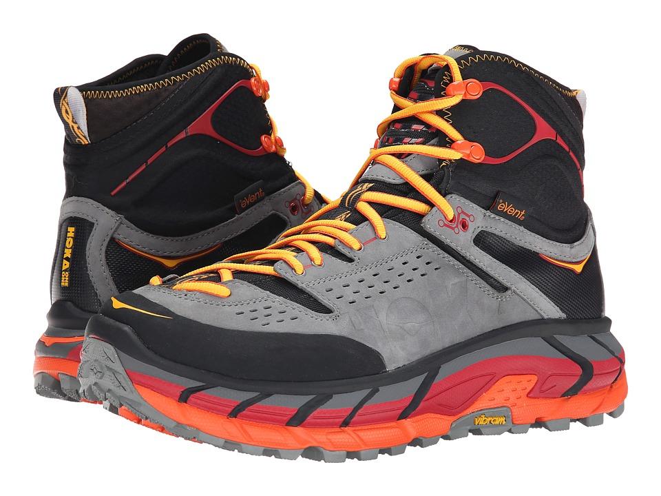 Hoka One One - Tor Ultra Hi WP (Black/Flame) Men's Running Shoes