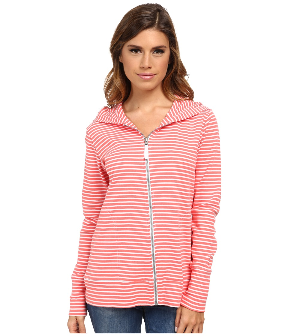 Pendleton - Stripe Rib Zip Hoodie (White/Salmonberry Mini Stripe) Women