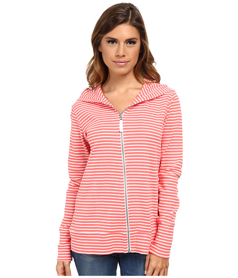 Pendleton - Stripe Rib Zip Hoodie (White/Salmonberry Mini Stripe) Women