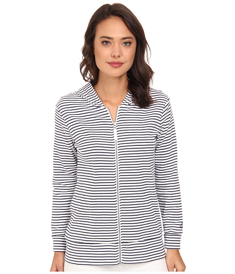 Pendleton - Stripe Rib Zip Hoodie (White/Indigo Mini Stripe) Women's Sweatshirt