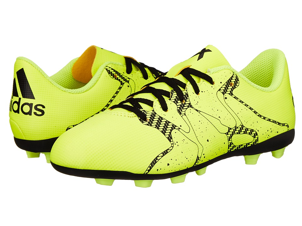 adidas Kids - X 15.4 FxG J Soccer (Little Kid/Big Kid) (Solar Yellow/Frozen Yellow/Black) Kids Shoes