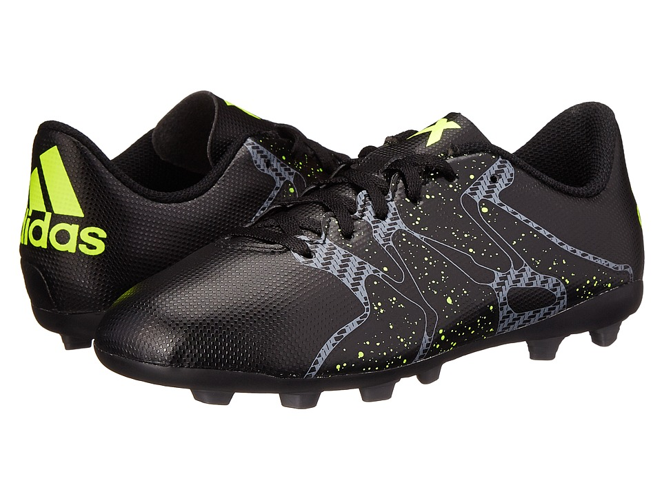 adidas Kids - X 15.4 FxG J Soccer (Little Kid/Big Kid) (Black/Solar Yellow/Solar Yellow) Kids Shoes