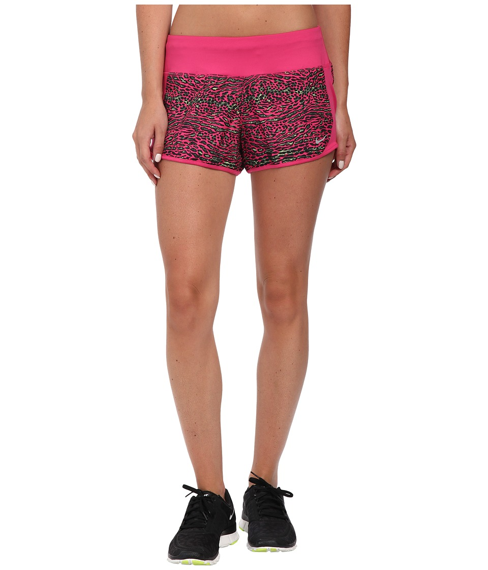 Nike Dri-FIT Crew Print Shorts (Vivid Pink/Vivid Pink/Reflective Silver) Women