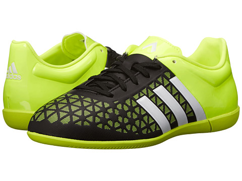 adidas Kids - Ace 15.3 IN J (Little Kid/Big Kid) (Black/White/Solar Yellow) Kids Shoes