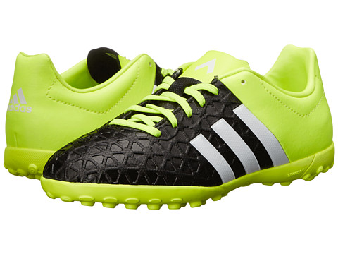 adidas Kids - Ace 15.4 TF J Soccer (Little Kid/Big Kid) (Black/White/Solar Yellow) Kids Shoes