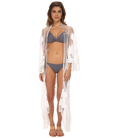 Seafolly - Inked Stripe Moonshine Kimono Cover-Up (White) Women's Swimwear