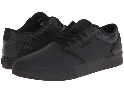 Supra - Shredder (Black Crocodile Embossed Leather) Men's Skate Shoes