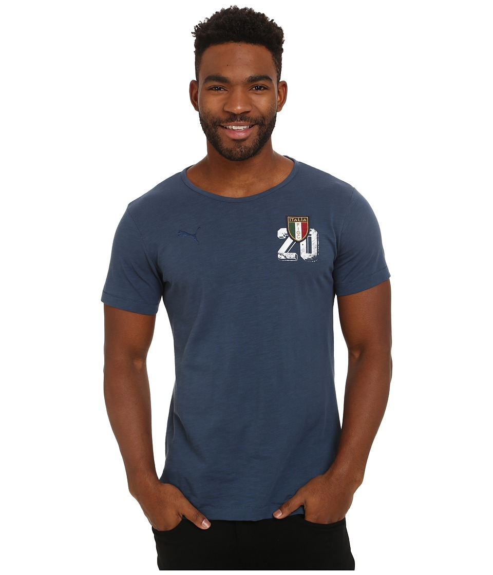 PUMA - FIGC Italia Azzurri Graphic Tee (Dark Denim) Men's T Shirt