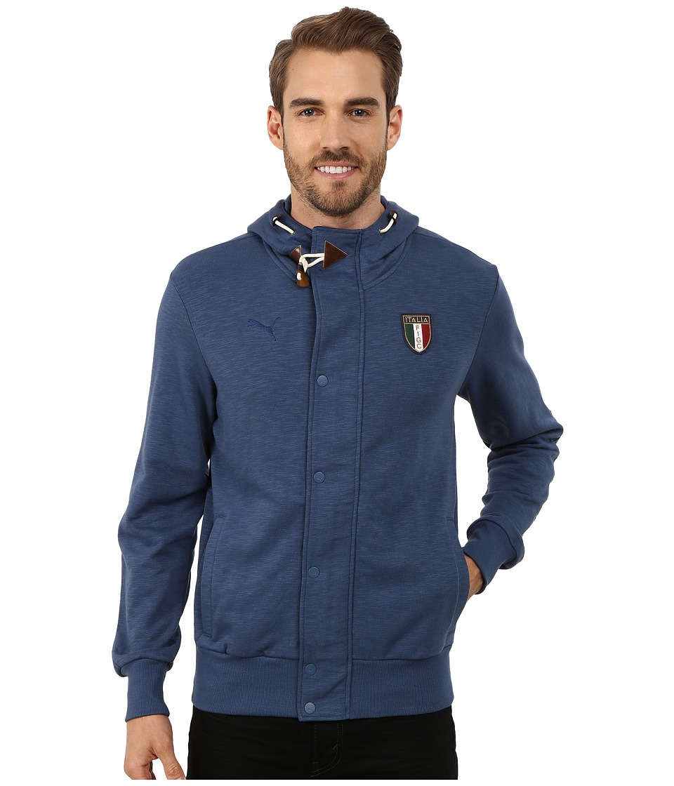 PUMA - FIGC Italia Azzurri Zip Through Hoodie (Dark Denim) Men