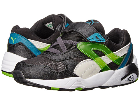 Puma Kids - R698 Mesh Neoprene V (Toddler/Little Kid/Big Kid) (Black/White) Boys Shoes