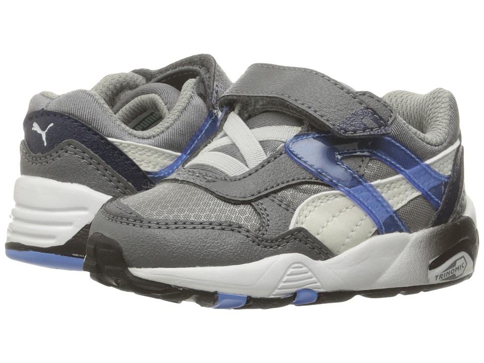 Puma Kids - R698 Mesh Neoprene V (Toddler/Little Kid/Big Kid) (Steel Gray/White) Boys Shoes