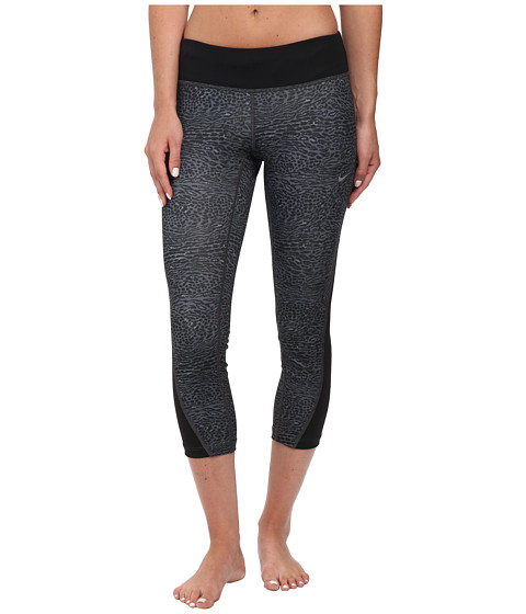 Nike - Dri-FIT Racer Leopard Print Crop (Black/Black/Reflective Silver) Women's Capri