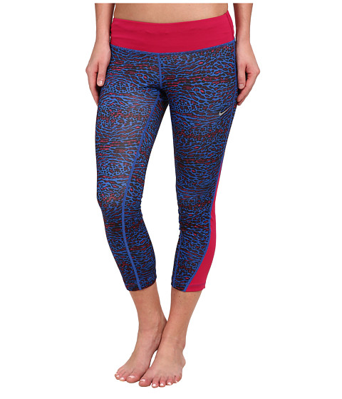 Nike - Dri-FIT Racer Leopard Print Crop (Game Royal/Sport Fuchsia/Reflective Silver) Women