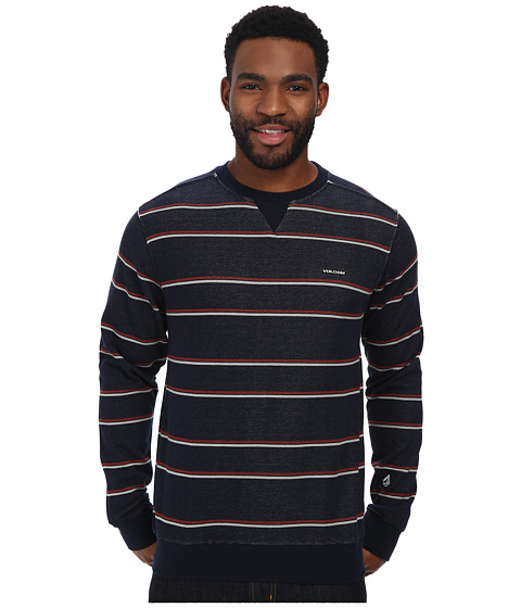 Volcom - Manic Crew (Blue Black) Men's Long Sleeve Pullover