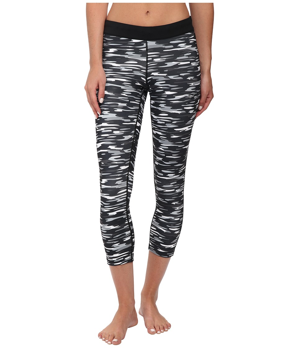 Nike - Dri-Fit Printed Relay Crop (Black/Reflective Silver) Women's Capri