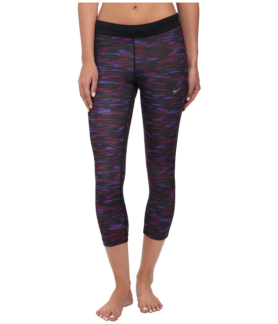 Nike - Dri-Fit Printed Relay Crop (Noble Purple/Black/Reflective Silver) Women's Capri