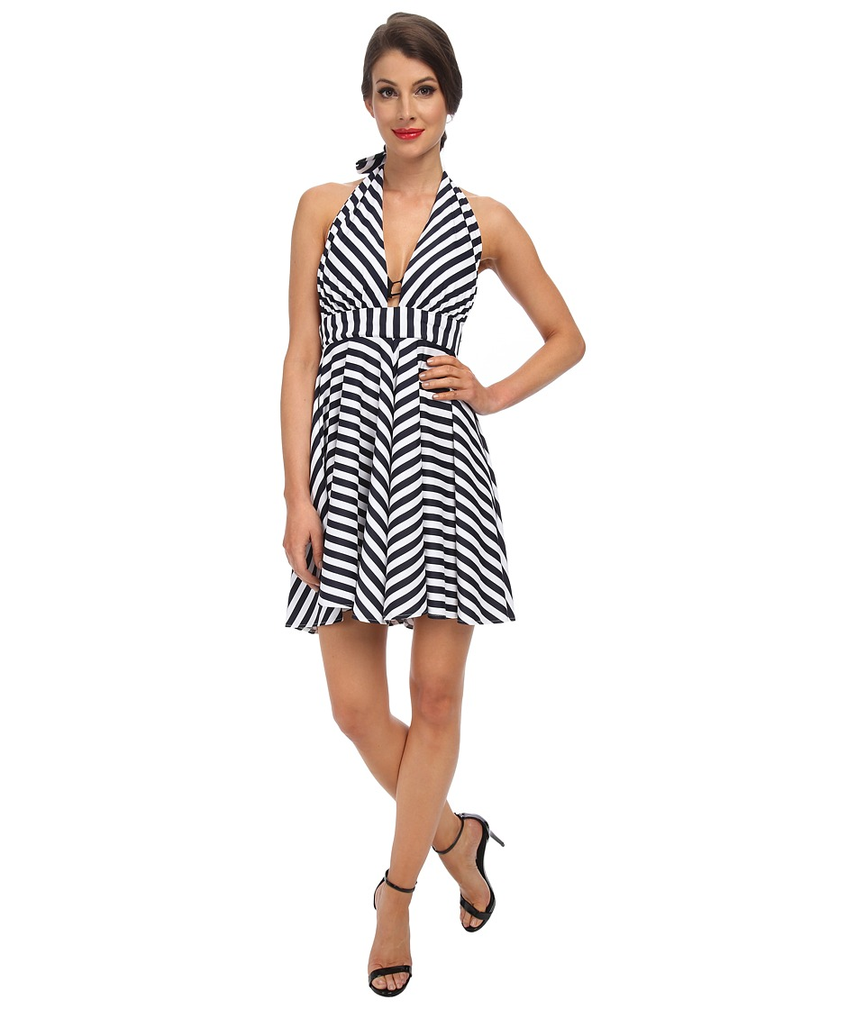 Unique Vintage - Marion Swim Dress (Navy/White Striped) Women's Swimwear
