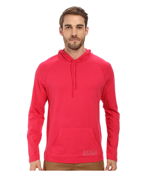 BOSS Hugo Boss - Long Sleeve Hooded Shirt 1018 (Dark Pink) Men's Swimwear