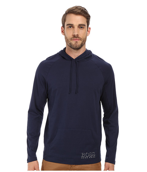 BOSS Hugo Boss - Long Sleeve Hooded Shirt 1018 (Navy) Men's Swimwear