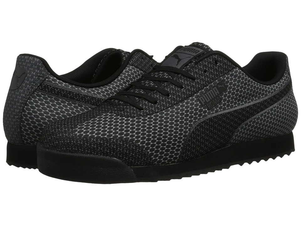 PUMA - Roma Woven Mesh (Black/Steel Gray) Men's Shoes